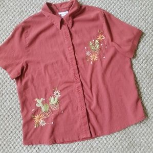 Vintage Embroidered Cactus & Succulent Button Down